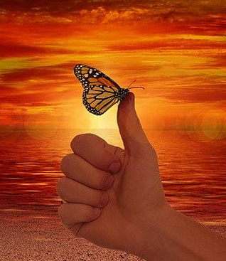 thumbs up for positive thinking